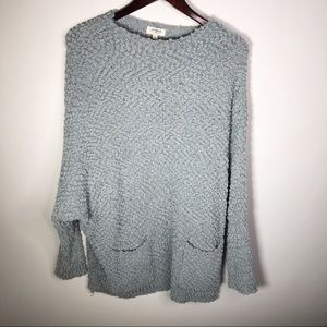 Umgee Light Blue Knit Pull Over Sweater Medium